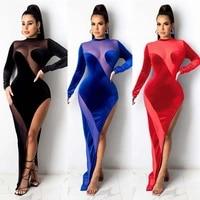 womens dresses spring and autumn elegant party dresses sexy stitching perspective slits velvet dress long dress vestido