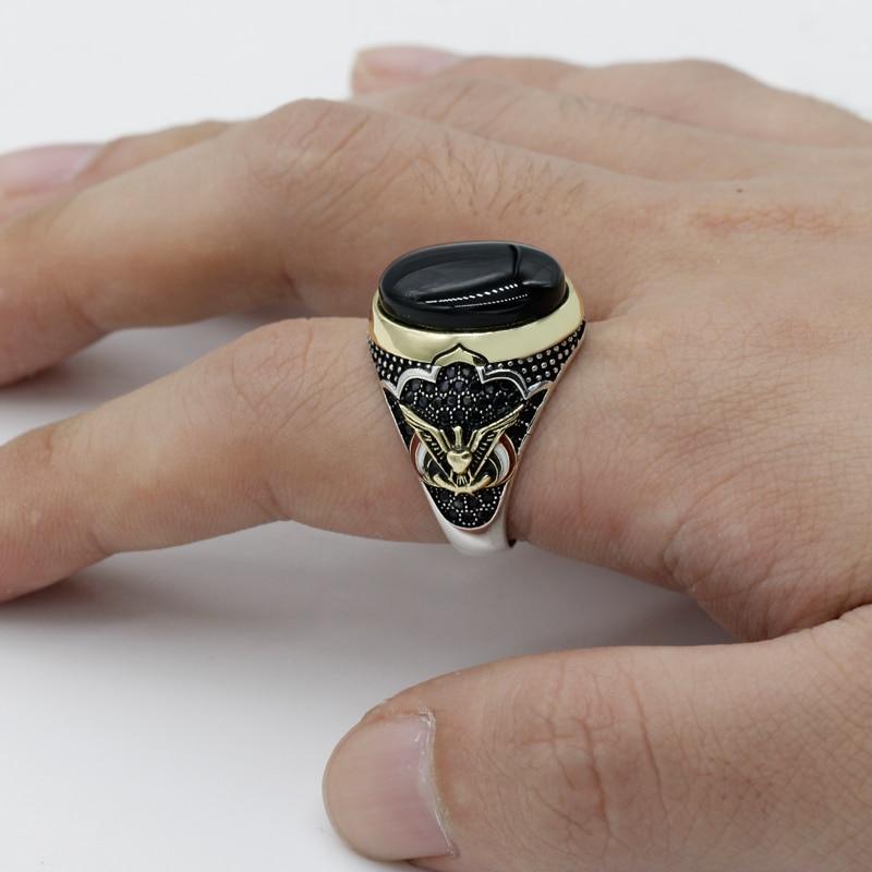 خاتم رجالي من الفضة الإسترليني عيار 925 مرصع بحجر أونيكس طبيعي بيضاوي أسود ، رمز السلام ، مجوهرات تركية تايلاندية