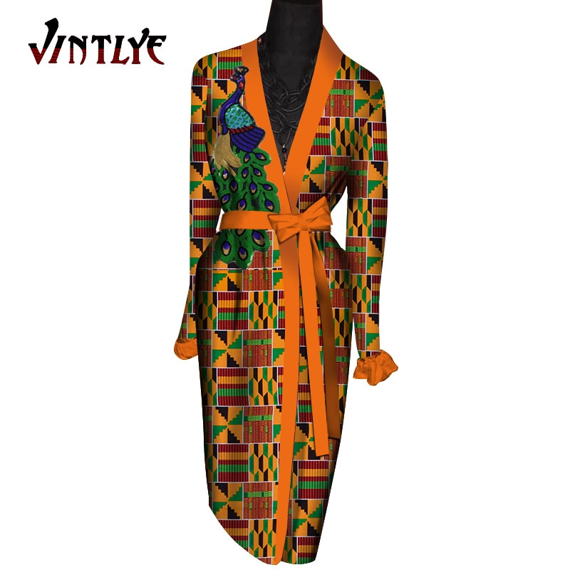 Longos para Mulher Longo com Cinto Robe Africaine Femme Africano Roupões Dashiki Impressão Cabolsa Senhora Camisola Roupas Nigerianas Wy435
