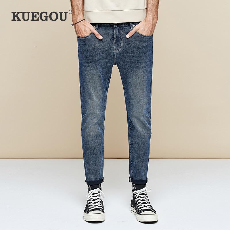 KUEGOU 2019 Autumn Cotton Blue Skinny Jeans Men Streetwear Brand Slim Fit Denim Pants For Male Hip Hop Stretch New Trousers 1784