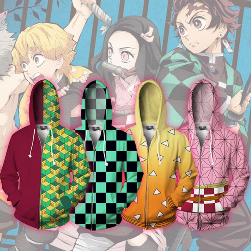 Anime Hoodies Sweatshirt Volwassen Demon Slayer Kimetsu Jas Geen Yaiba Kamado Tanjirou Cosplay Kostuum Mannen Vrouw Rits Hooded Top