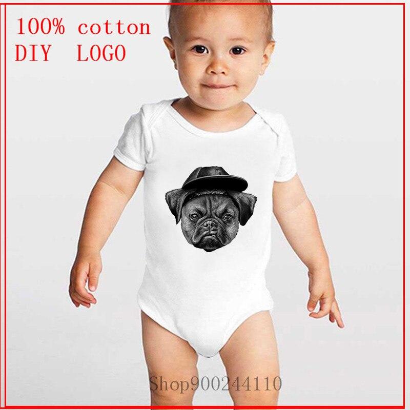 Monos de cubo de Pug para recién nacidos del 2020, ropa para niñas y niños, ropa para bebé, ropa de bebé de manga corta de algodón para 100%