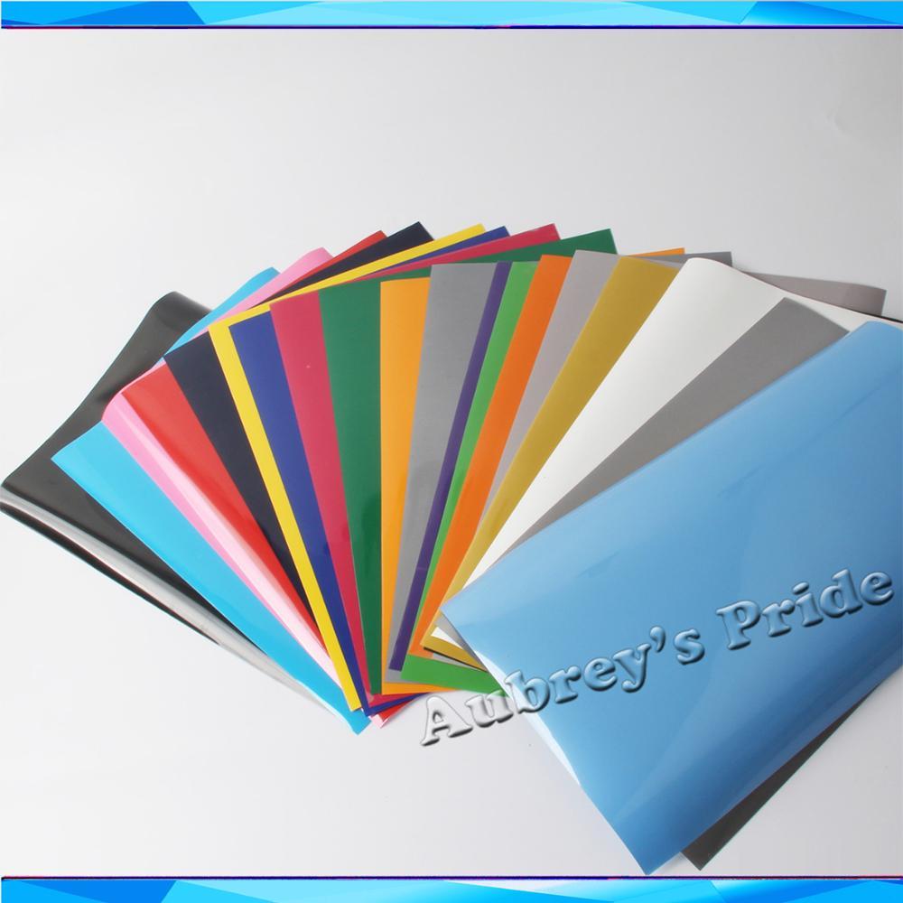 "Envío gratis 2 hojas A4 20x30CM (9 ""x 12"") de PVC de transferencia de calor de vinilo prensa de corte Plotter cortador camiseta DIY papel de lámina de papel"