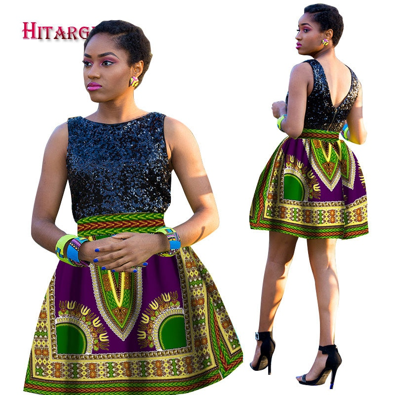 Stock Size Low Price Women African Dashiki Hippie High Waist Skirt Flared Pleated Short Skirt WY1247 stock price puzzle