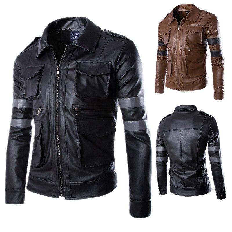 بولي PU سترة جلدية لل الشر المقيم 6 لعبة تأثيري سترة ل Biohazard دراجة نارية موضة ملابس خارجية معطف