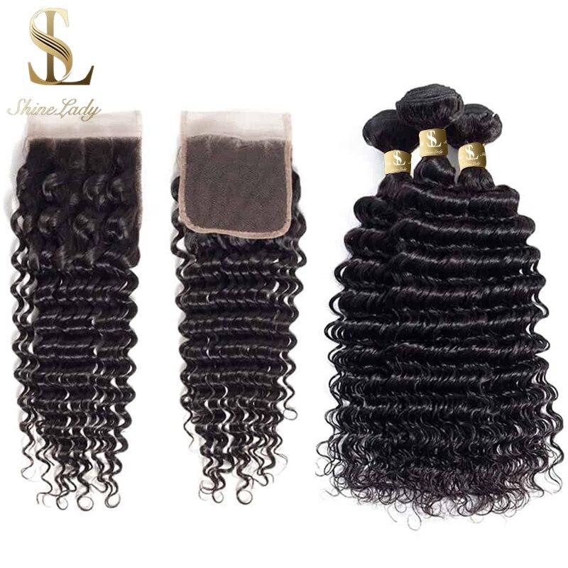 Mechones de pelo brasileño Shinelady con ondas profundas tejido con cierre peinado cepillado negro Natural mechones de 30 pulgadas con cierre