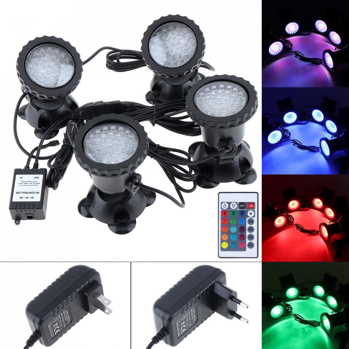 Impermeable 4 luces 36 LEDs Color paisajismo focos agua hierba Control remoto 16 colores para acuario piscina tanque de peces