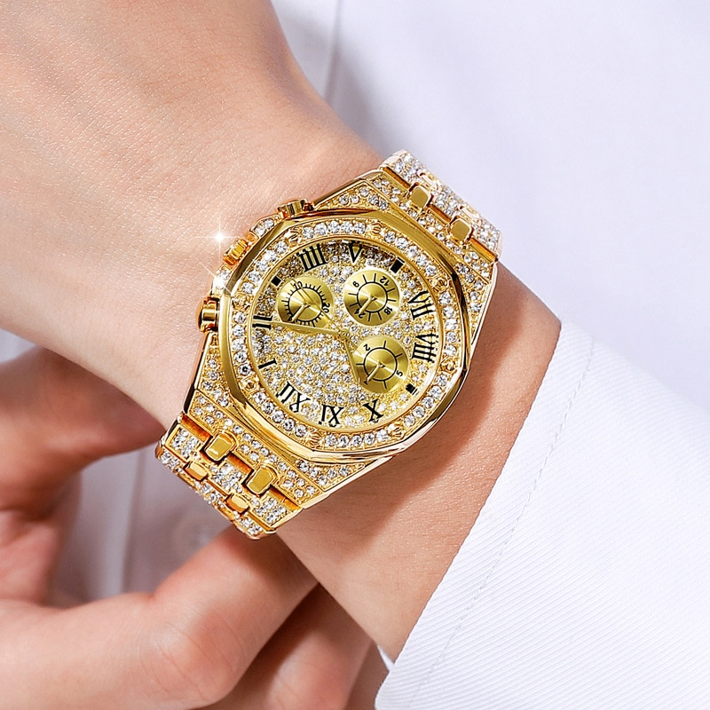 Mens Watches Brand Luxury Iced Out Watch Gold Diamond Watch For Men Quartz Waterproof Wristwatch Relogio Masculino Reloj watch for women top brand luxury iced out watch diamond watch for men iced out cuban link chain necklace wristwatch man hiphop