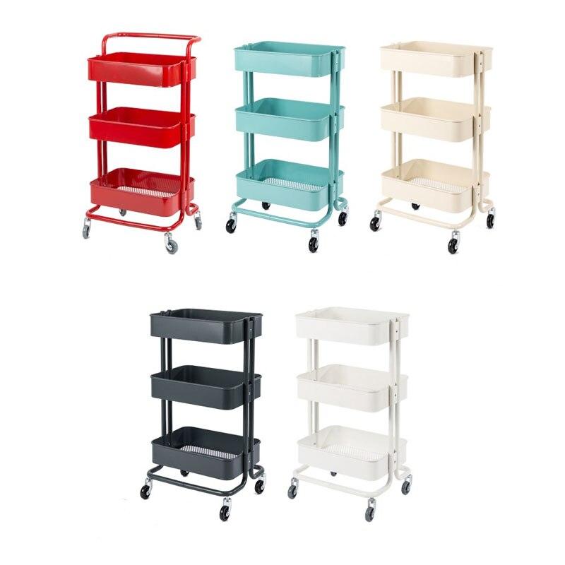 Moderno y creativo, 3 niveles de acero al carbono, estante de almacenamiento en habitación para el hogar, carrito con ruedas, organizador de cocina con 4 ruedas