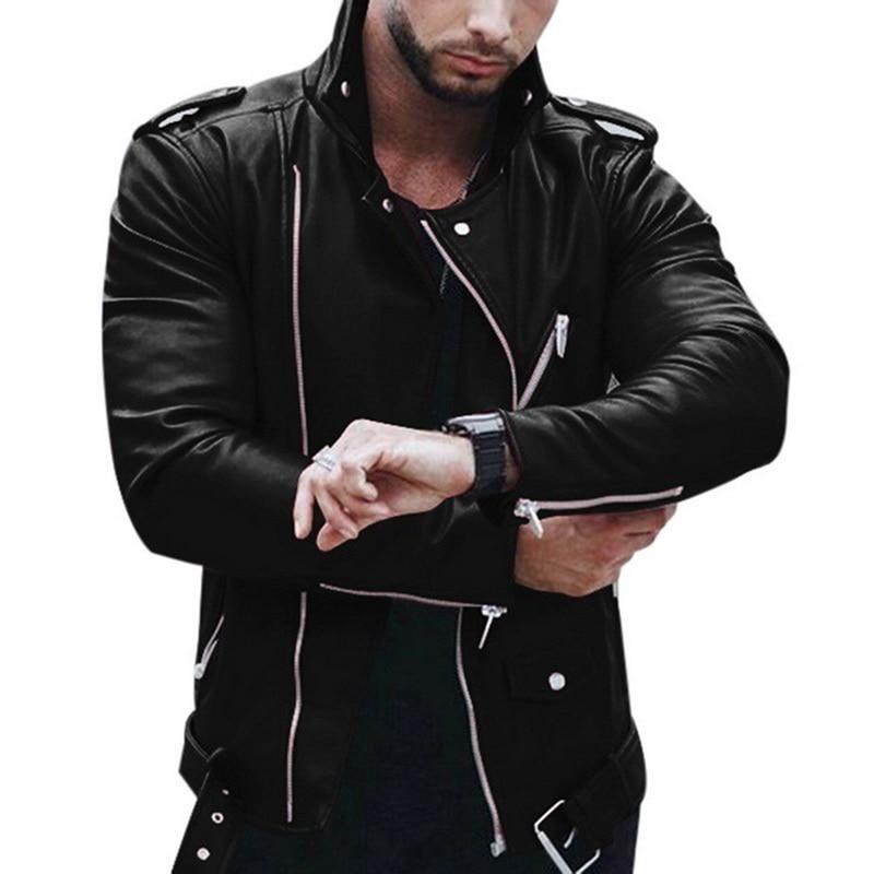 Marke Plus Größe Leder Jacke Männer Herbst Mode Langarm Stehen Kragen Jacke Fashion Zipper Patchwork Faux Leder Mäntel