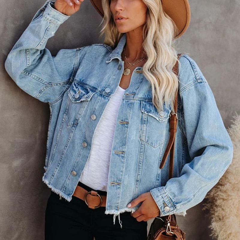 Basic Ladies Denim Jacket Single Breasted Casual Short Coat Autumn Women Loose Outwear Lapel Elegant