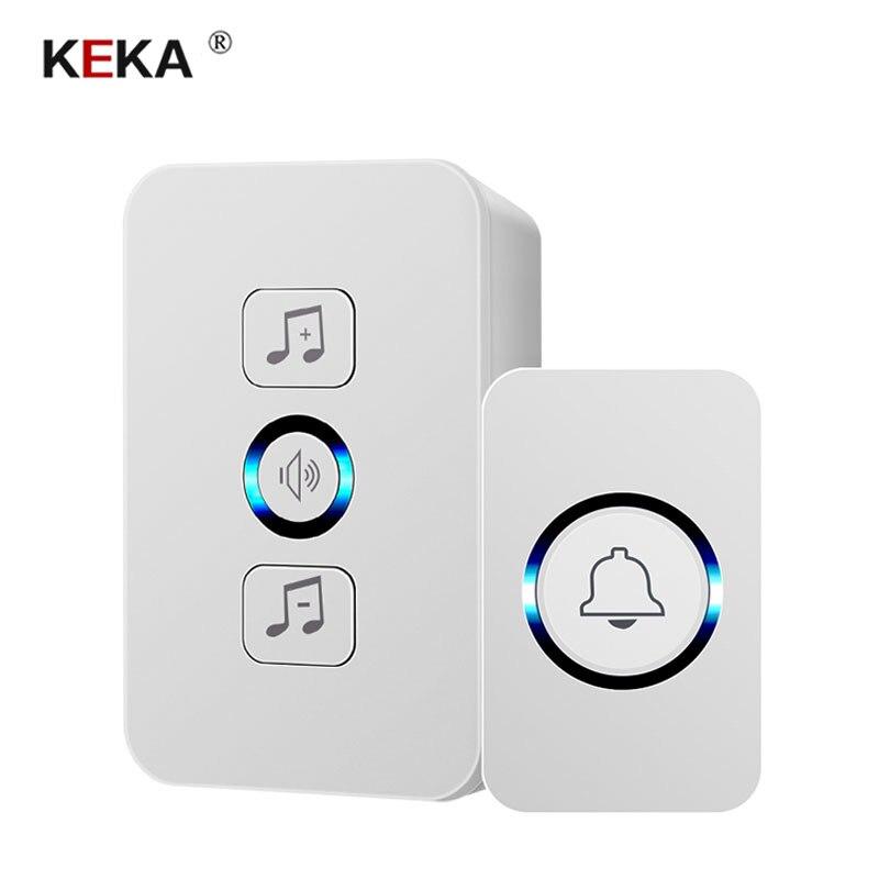 KEKA-sonnette étanche sans fil 1 bouton   300M, télécommande smart home hôtel, anneau de porte sans fil, prise US