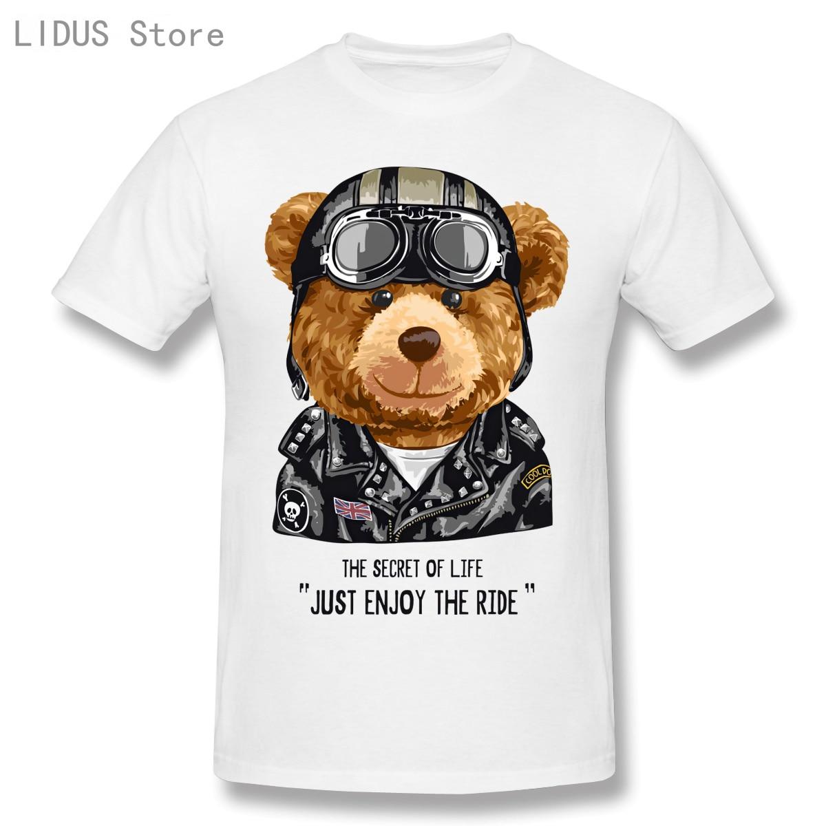 2021 Fashion T Shirts Funny Bear Short Sleeve Casual Men O-neck 100% Cotton T-Shirts Tee Top