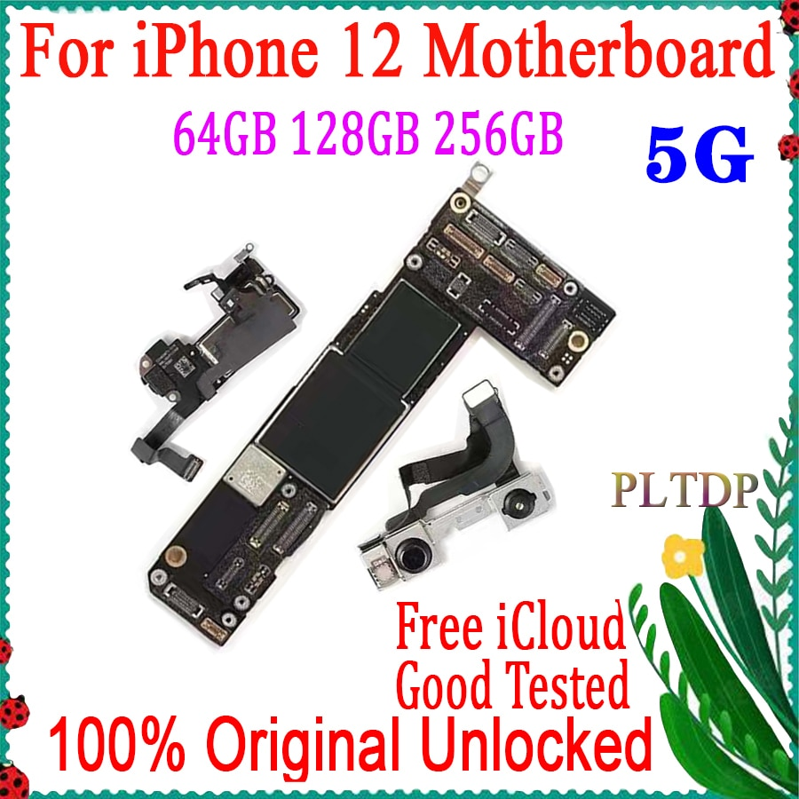 Promo For iPhone 12 Motherboard 64GB 128GB 256GB 100% Original unlocked With/NO Face ID clean icloud Logic board Support IOS update