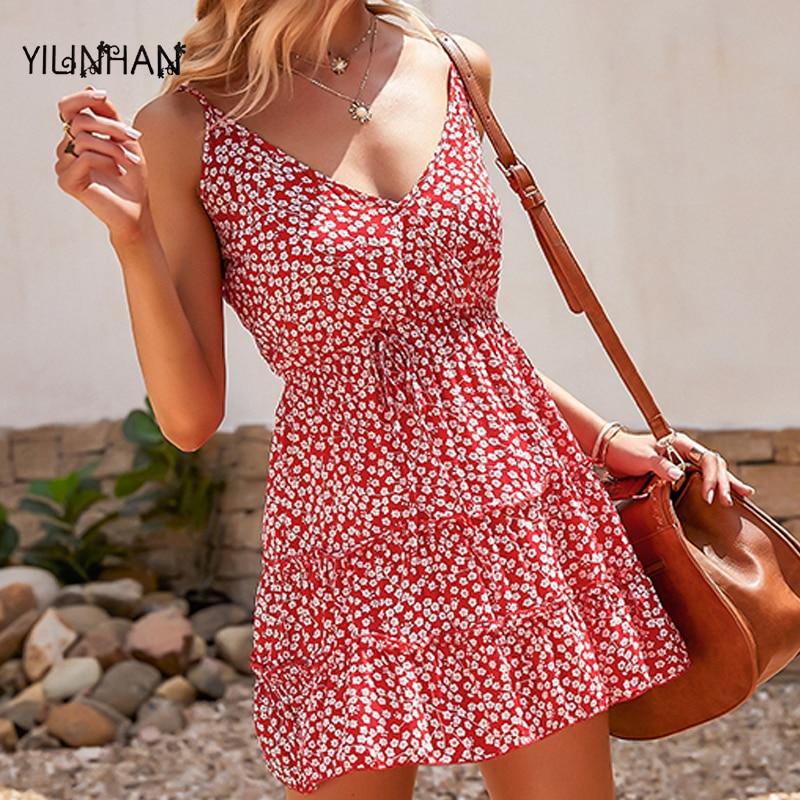 YILINHAN Women New Dresses Summer 2021Sexy V Neck Floral Print Boho Casual Dress Spaghetti Strap A Line Mini Dress Wrap Sundress
