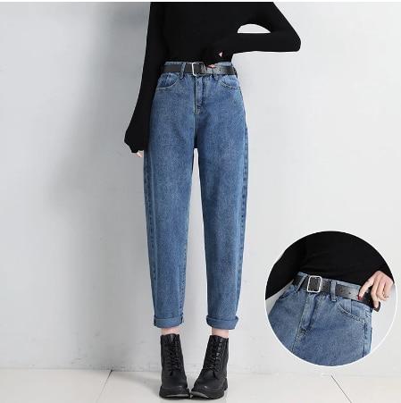 2021 Vintage Straight High Waist Jeans Women Boyfriend Mom Streetwear Denim Jeans with Belt Casul Loose Plus Size Denim Trousers
