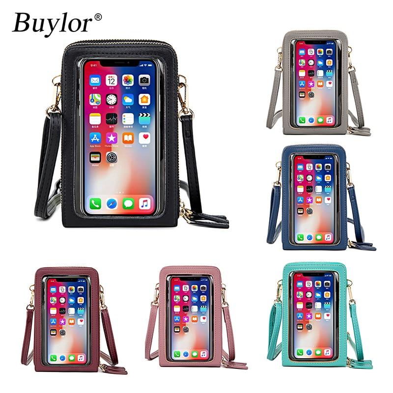 Buylor Women Crossbody Bag Mobile Phone Bag Women Wallets Touch Screen Phone Bag Multi-pocket Mini Shoulder Messenger Bag