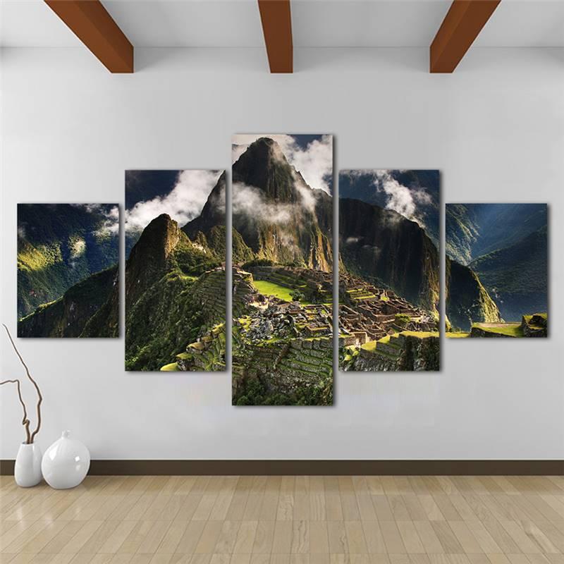 ホーム装飾壁の写真リビングルームのキャンバスアート風景画 5 パネルマチュピチュペルー山雲丘