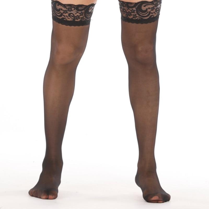 Medias eróticas para hombre y mujer, pantimedias sexys con liguero para sexo, Medias Abiertas de encaje, ultrafinas