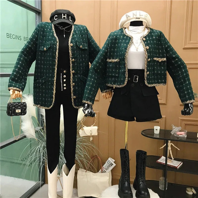 جاكيت تويد منقوش عتيق للسيدات أنيق واحد الصدر قصير ملابس خارجية علوية للربيع والخريف كم طويل معطف ريترو أخضر داكن
