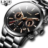 Часы наручные LIGE мужские водонепроницаемые, брендовые Роскошные спортивные стильные, из нержавеющей стали, 2021