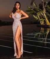 linglewei new spring and summer womens dress sexy sleeveless sequin split dress
