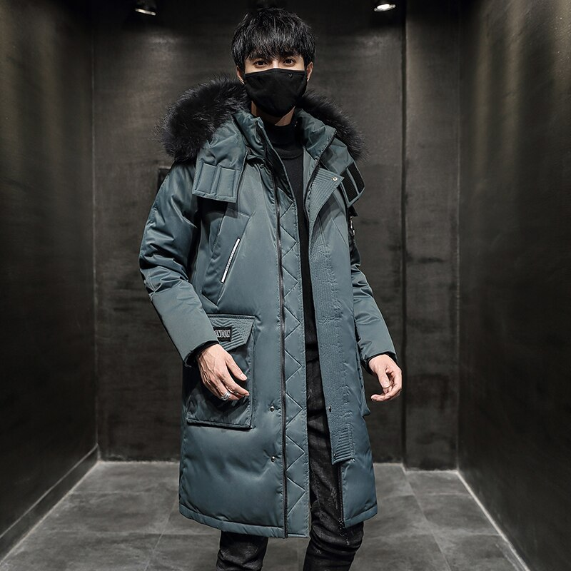 Новая мужская зимняя куртка, Мужская Толстая теплая длинная куртка с карманами, меховым воротником и капюшоном, термопарка, верхняя одежда, ...