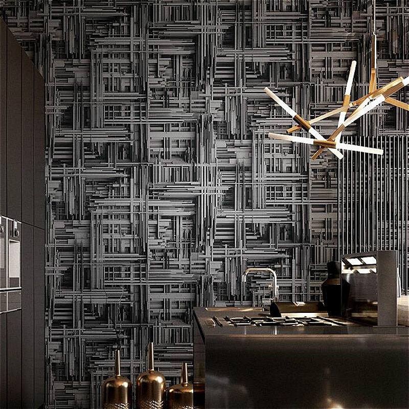 أسود فضي ، أبيض معدني مجردة ثلاثية الأبعاد مجسمة خلفية الحديثة هندسية ورق حائط من مادة الفينيل غرفة المعيشة غرفة نوم خلفية