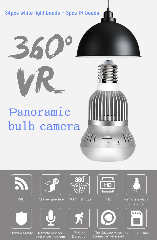 Ni-shen 960p 360 panorámico Wifi Cámara de la lámpara bombilla Mini infrarrojos cámara de ojo de pez de seguridad inalámbrica en casa de vigilancia de Audio de dos vías