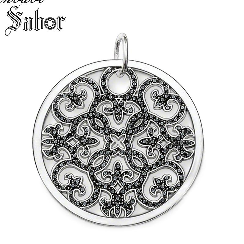 Pendant Arabesque Disc Vine silver color For Women Classic Gift Pendant Ornament Fit Necklace thomas