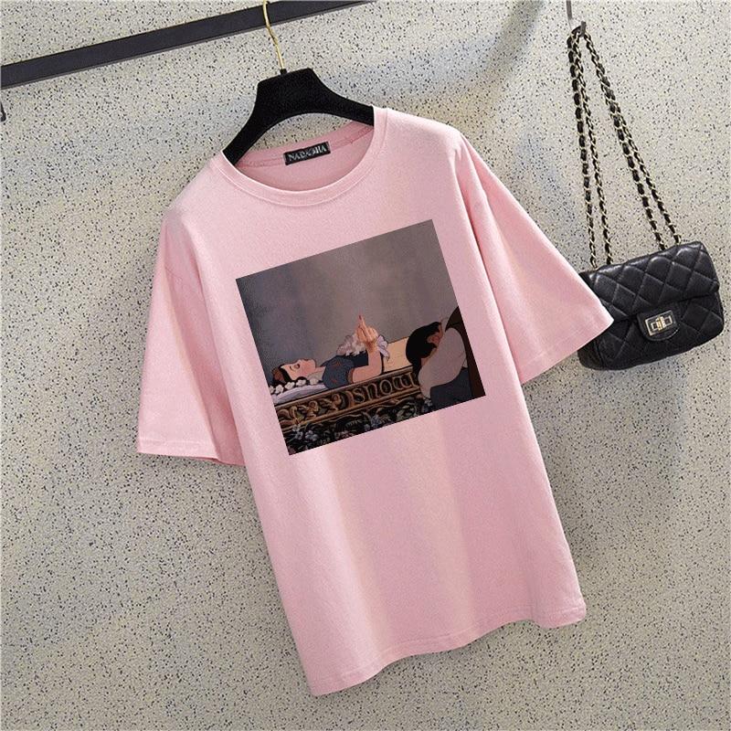 Summer Snow White Harajuku Cotton T Shirt O-Neck Fck You Punk T-Shirt Print Casual Short Sleeve Pink Tshirt Streetwear Women Top