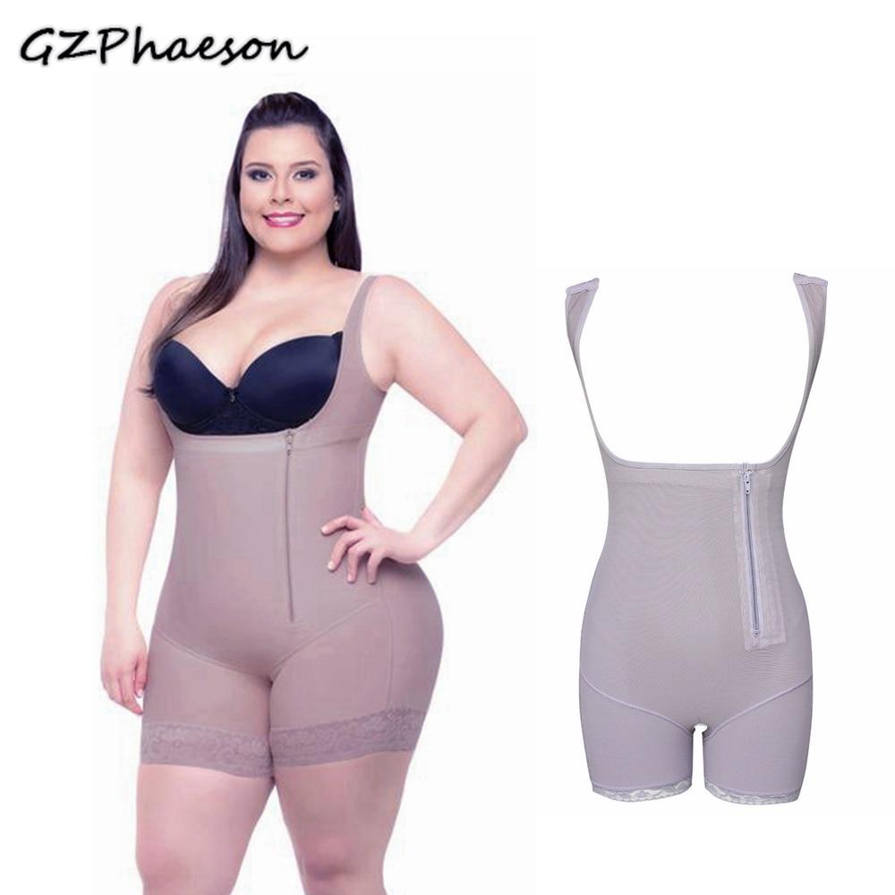Women Corset Girdle Waist Trainer Zipper Slimming Corrective Underwear Bodysuit Body Shaper Shapewear Plus Size Faja Colombiana