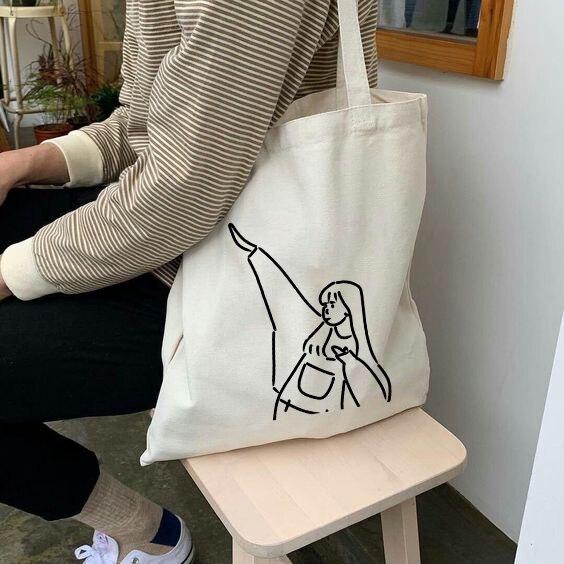 Bolsos de mano de lona para mujer, bolsos de hombro Harajuku estéticos, bolsos de moda para mujer, bolsa de compras plegable reutilizable
