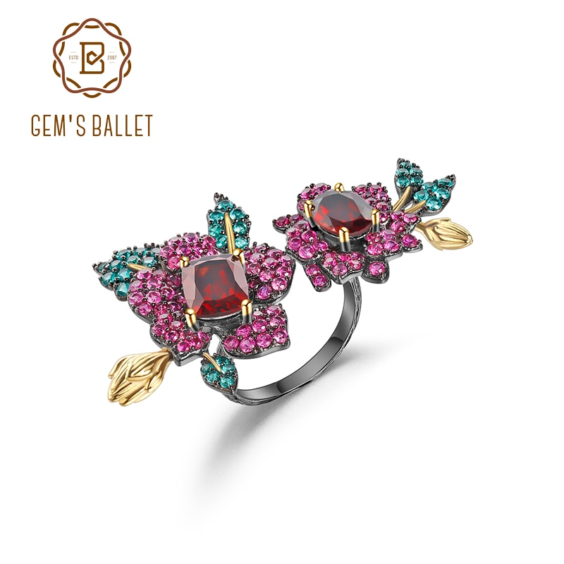 GEM'S باليه-خاتم من الفضة الإسترليني عيار 925 مع زهرة عقيق حمراء طبيعية ، حلقة مفتوحة قابلة للتعديل ، للنساء
