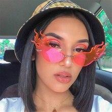 Fashion Fire Flame Sunglasses Brand Design Women Cat Eye Sunglass Luxury Rimless Sun Glasses Eyewear