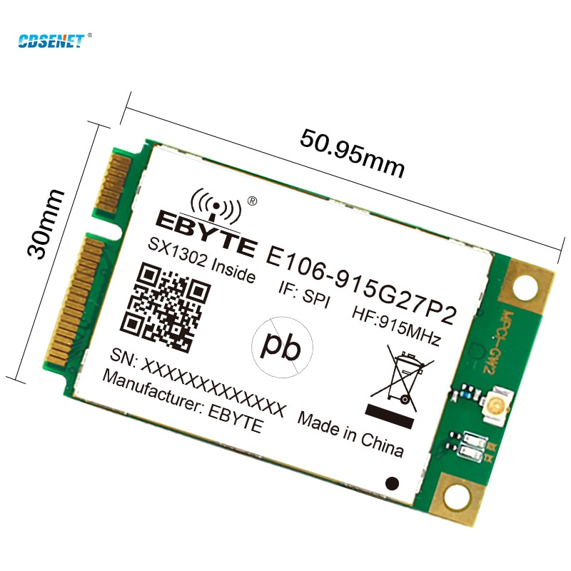 LoRa Gateway RF Module SX1302 915MHz  27dBm PCI-e SPI Interface Low Power Consumption CDSENET Industrial Grade E106-915G27P2 enlarge