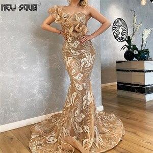 2020 Amazing Strapless Evening Dresses Mermaid Prom Dress Glitter Abendkleider Long Women Arabic Party Dress Vestido De Festa