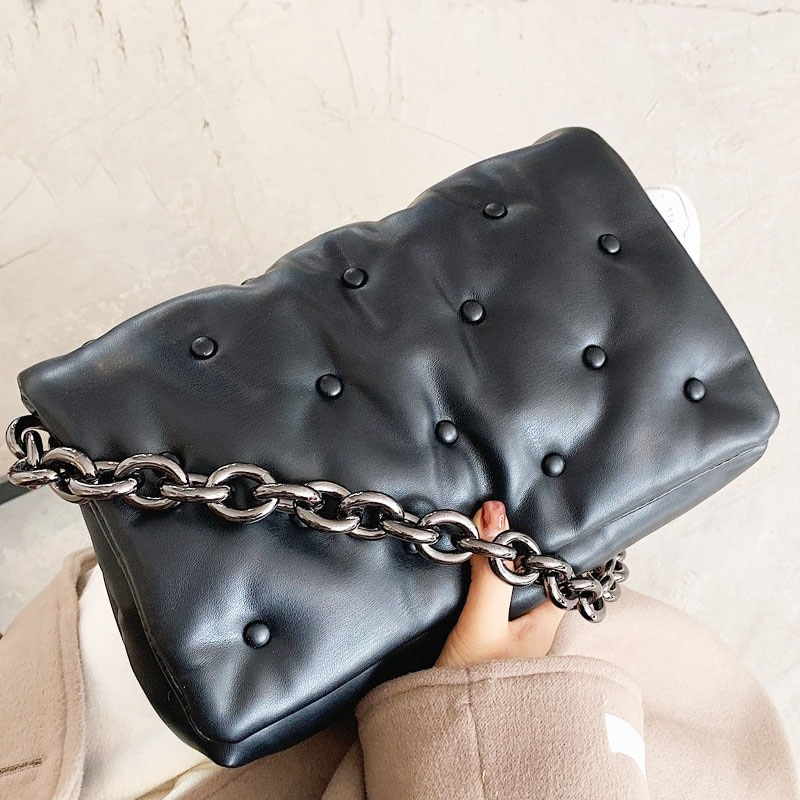 Branded Women's Shoulder Bags 2020 Denim Quality Thick Metal Chain Shoulder Purses And Handbag Women