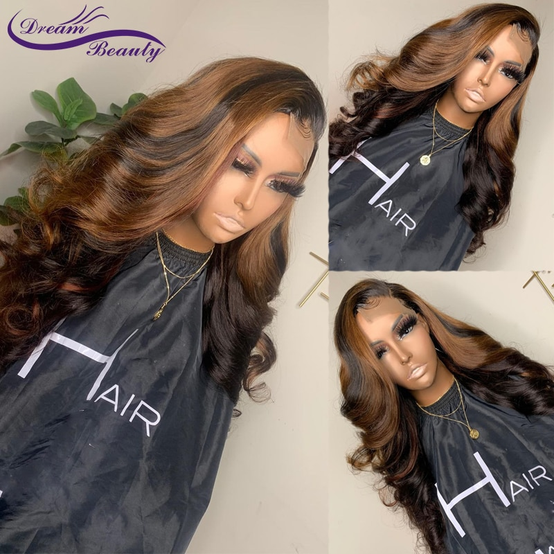 Colored Ombre Wave 13X4 Lace Front Human Hair Wigs Pre Plucked 180% Brazilian Lace Frontal Wigs 4x4