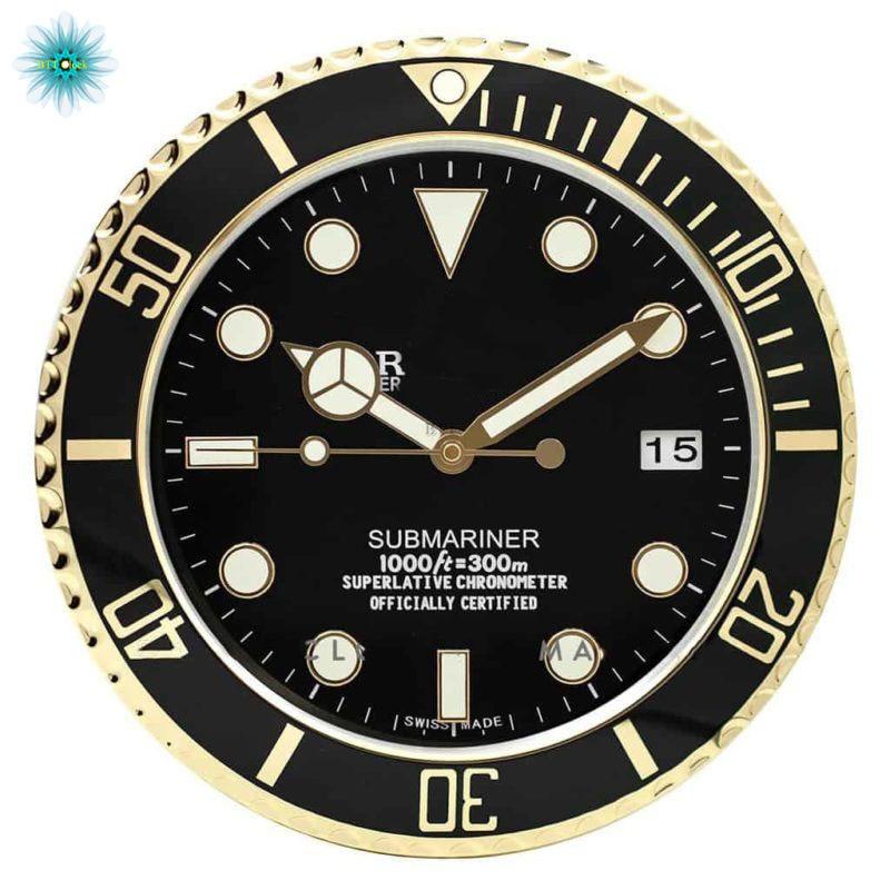WALL CLOCK SUBMARINER STYLE GOLD RL49 Luxury Wall Clock Watch Shape Wall Clock with Diamond Dial