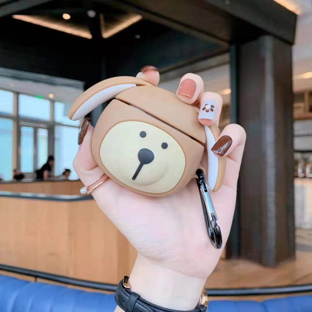 Para AirPod 2 Funda 3D orejas largas oso dibujos animados silicona suave auriculares inalámbricos fundas para Apple Airpods Funda Linda Funda
