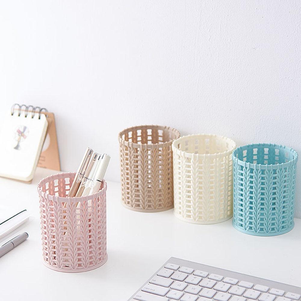 2020 4 Color Office Organizer Desktop Hollow Cylinder Pen Storage Box Pencil Brush Pot Pen Holder Makeup Brush Plastic Container