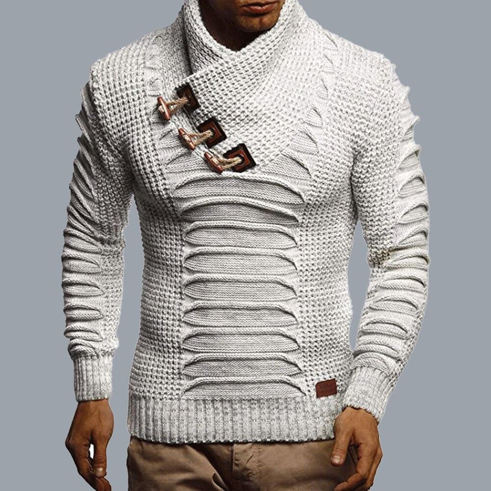 2021 الخريف الرجال التحوط شال طوق ضئيلة الرجال أوف وايت سترة طويلة الأكمام بلون موضة عادية أوروبا أمريكا