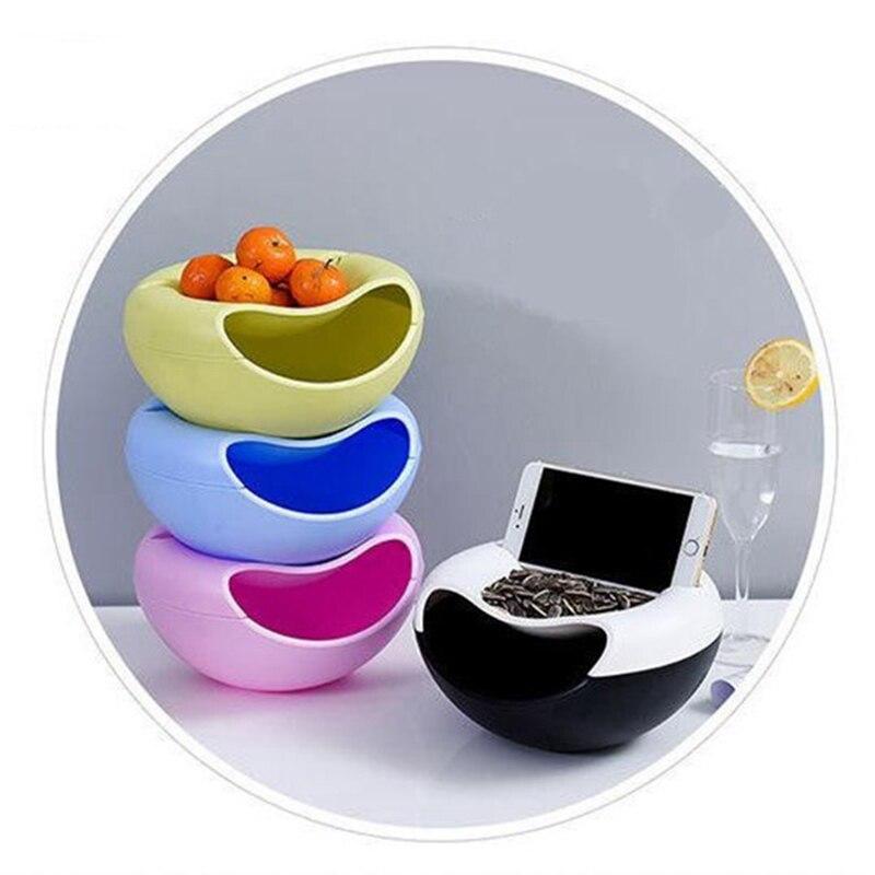 Envase de aperitivos multifuncional de doble capa, recipiente con semillas de melón, caramelo y fruta, caja de almacenamiento de cosméticos, caja de soporte para teléfono