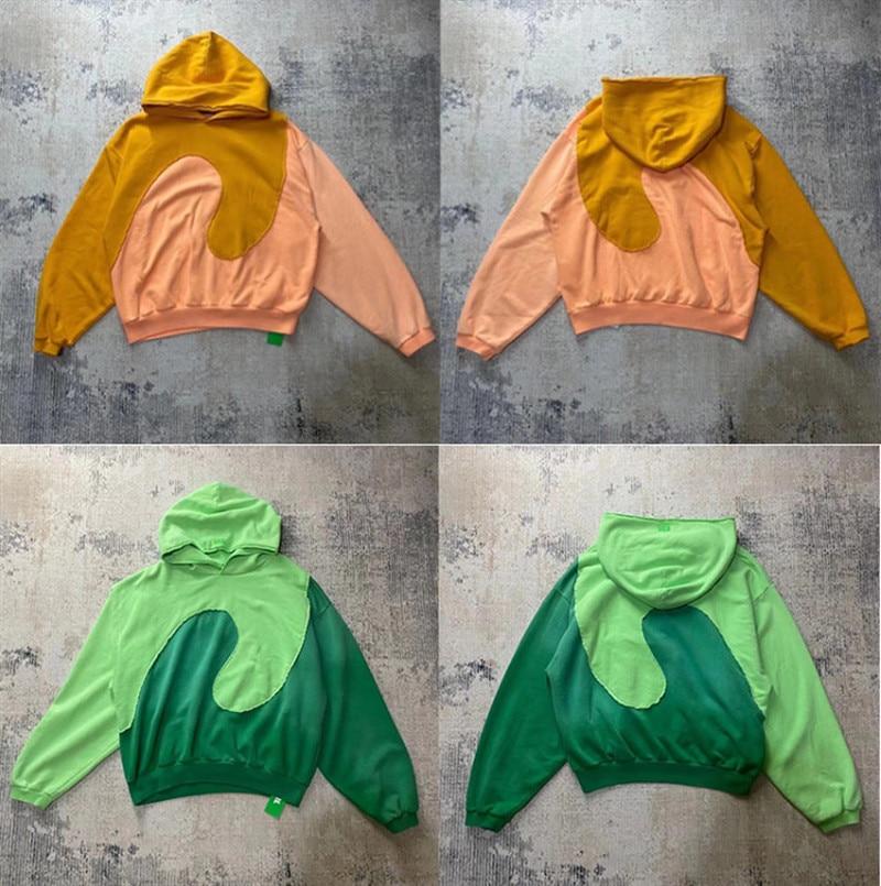 سترة جاستن بيبر بغطاء للرأس من القماش الثقيل للرجال مقاس 1:1 سترة عالية الجودة باللون البرتقالي والأخضر للنساء