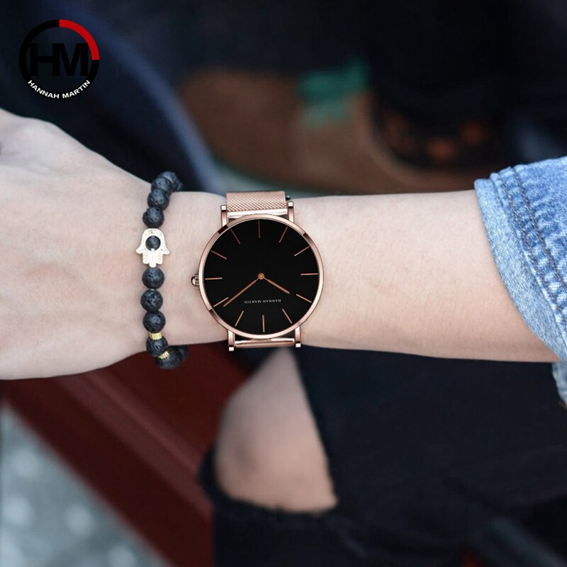 High Quality A++++ Stainless Steel Mesh Band Japan Quartz Movement Waterproof Women Rose Gold Ladies Watch 36mm Dropshipping enlarge