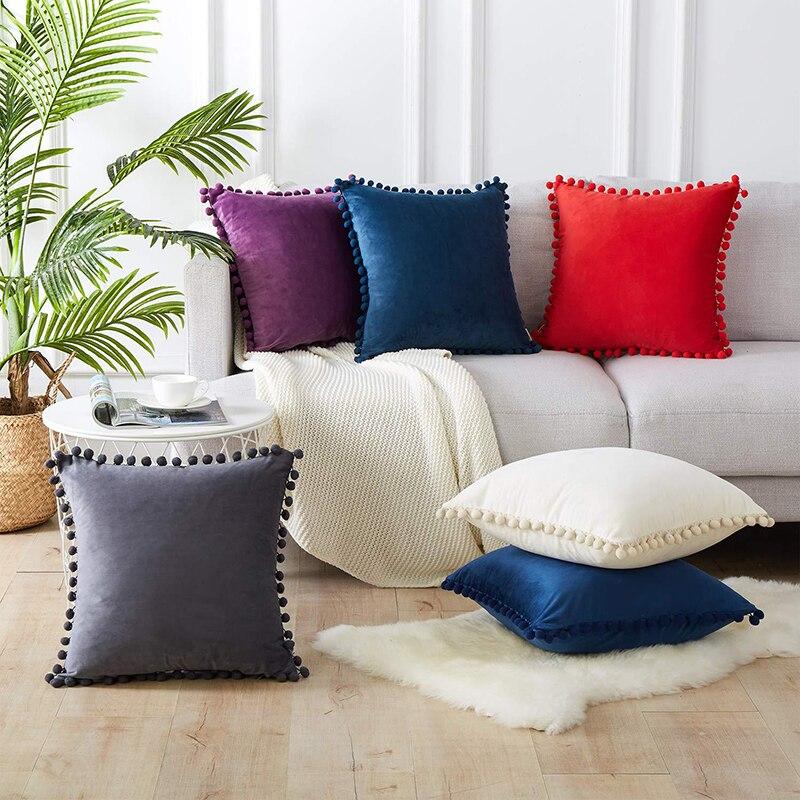Мягкий Бархатный Чехол для подушки, декоративные подушки, наволочка для диванной подушки, однотонный Роскошный домашний декор, для гостино...
