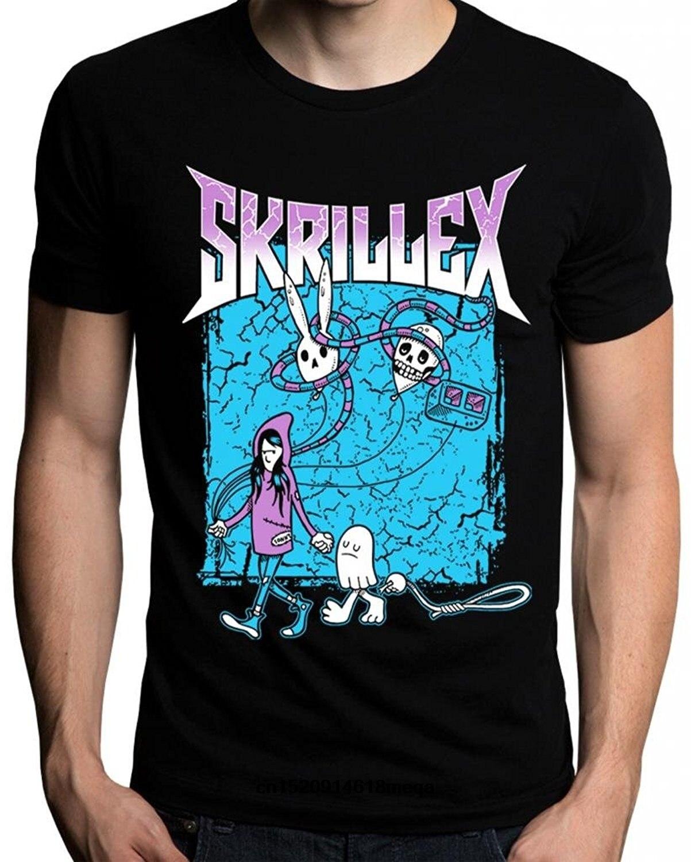 Camiseta de manga curta dos homens do logotipo do dj da música de skrillex engraçado das camisas t