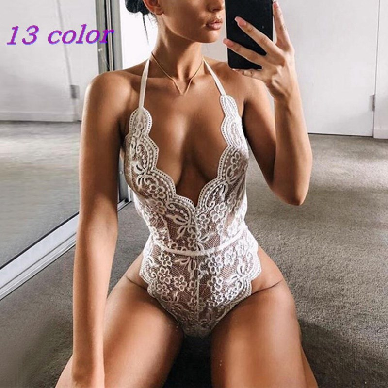2021 Fashion Backless Halter Lace Bodysuits Transparent Female Body Hot Sexy Teddies Jumpsuits Women Deep V Sheer Club