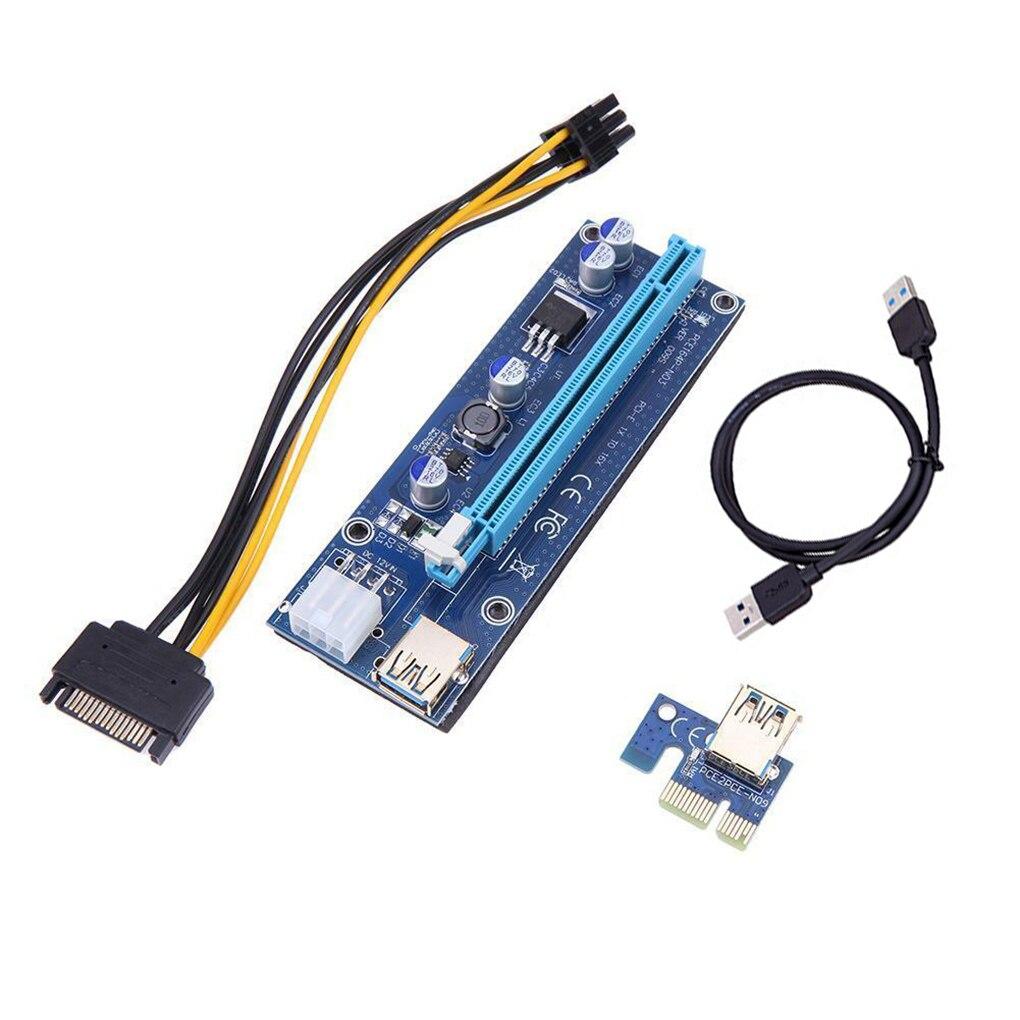 PCI-E Riser Board USB 3.0 PCI-E Extender Board GPU 1x to 16x Adapter Board with 6pin Interface  USB 3.0 PCI-E riser card аксессуар адаптер espada usb riser card pci e x1 male to pci e x16 female epciekit ver009s